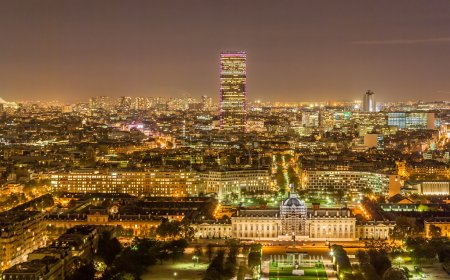 Tour Montparnasse and Ecole Militaire as seen from Eiffel Tower.