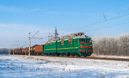 Freight train hauled by electric locomotive