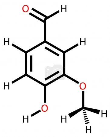 Illustration for Structural formula of vanillin drawn on a white background - Royalty Free Image
