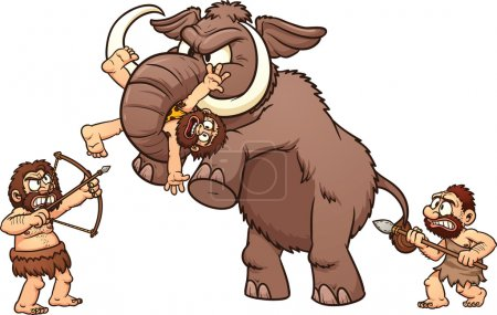 Illustration for Cartoon cavemen fighting an angry mammoth. Vector illustration with simple gradients. Each element in a separate layer for easy editing. - Royalty Free Image