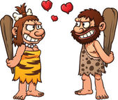 Cartoon prehistoric couple Vector illustration with simple gradients Each element in a separate layer for easy editing