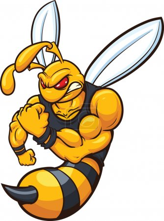 Hornet wasp mascot. Vector illustration with simpl...