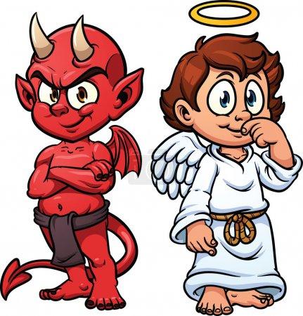 Illustration pour Dessin animé mignon ange et démon. illustration vectorielle avec des gradients simples. chacun dans un calque séparé pour faciliter l'édition. - image libre de droit