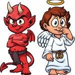 Cute cartoon angel and devil. Vector illustration ...