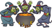 Evil Halloween witches with cauldron Vector illustration with simple gradients All in a single layer