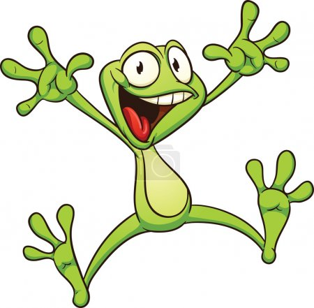 Excited cartoon frog. Vector illustration with sim...