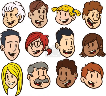 Illustration for Cute cartoon faces. Clip art vector illustration. Each in a separate layer for easy editing. - Royalty Free Image