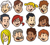 Cute cartoon faces Clip art vector illustration Each in a separate layer for easy editing