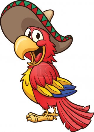 Illustration for Cartoon Mexican parrot. Vector clip art illustration with simple gradients. All in a single layer. - Royalty Free Image