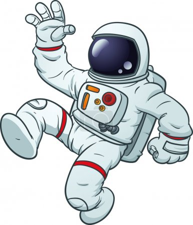 Illustration for Cartoon astronaut waving. Vector clip art illustration with simple gradients. All in a single layer. - Royalty Free Image