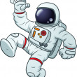 Cartoon astronaut waving. Vector clip art illustration with simple gradients. All in a single layer.