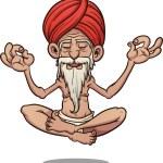 Cartoon floating guru. Vector clip art illustratio...