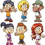 Cute cartoon boys and girls. Vector clip art illus...