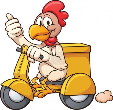 Illustration pour Cartoon poulet sur un scooter de livraison. Illustration de clip art vectoriel avec des dégradés simples. Le tout en une seule couche . - image libre de droit