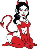 Devil woman pin up Vector clip art illustration with simple gradients All in a single layer
