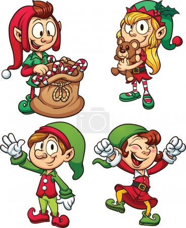 Illustration for Cartoon Christmas elves. Vector clip art illustrations with simple gradients. Each in a separate layer for easy editing. - Royalty Free Image