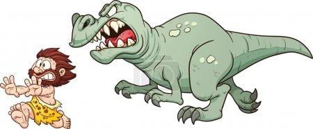 Tyrannosaur chasing caveman