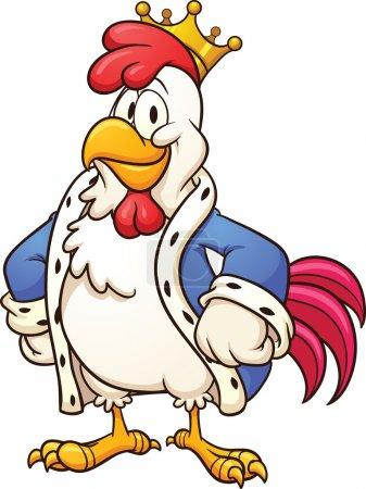 Illustration pour Dessin animé roi poulet. Illustration de clip art vectoriel avec des dégradés simples. Le tout en une seule couche . - image libre de droit