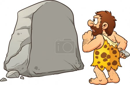 Illustration pour Homme des cavernes regardant un grand rocher et pensant. Illustration de clip art vectoriel avec des dégradés simples. Rock et homme des cavernes sur des couches séparées pour un montage facile . - image libre de droit