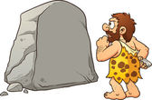 Caveman looking at a large rock and thinking Vector clip art illustration with simple gradients Rock and caveman on separate layers for easy editing