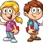 School kids. Vector clip art illustration with sim...
