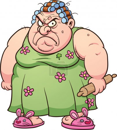 Fat angry woman. Vector clip art illustration with...