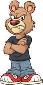Angry cartoon bear Vector clip art illustration with simple gradients All in a single layer
