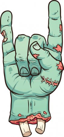 Severed zombie hand making rock sign. Vector clip ...