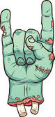 Severed zombie hand making rock sign Vector clip art illustration with simple gradients All in a single layer
