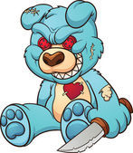 Evil teddy bear Vector clip art illustration with simple gradients All in a single layer