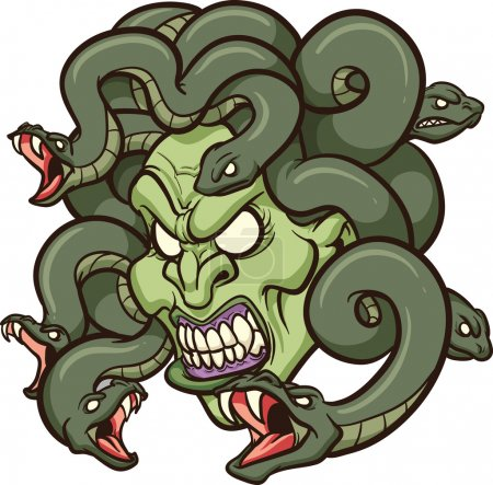 Medusa's head. Vector clip art illustration with simple gradients. All in a single layer.