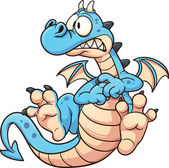 Cartoon scared blue dragon Vector clip art illustration with simple gradients All in a single layer