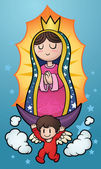 Cartoon virgin of Guadalupe Vector clip art illustration with simple gradients All in a single layer