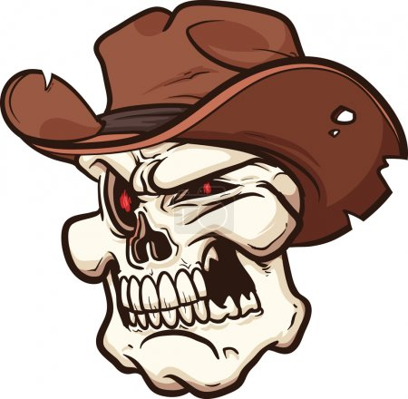 Illustration for Cowboy skull. Vector clip art illustration with simple gradients. All in a single layer. - Royalty Free Image