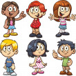 Cartoon school kids. Vector clip art illustration ...