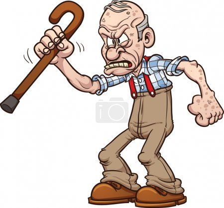Illustration for Grumpy old man. Vector clip art illustration with simple gradients. All in a single layer. - Royalty Free Image