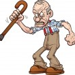 Grumpy old man. Vector clip art illustration with ...