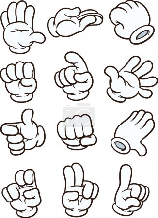 Illustration for Cartoon gloved hand in different poses. Vector clip art illustration. Each in a separate layer. - Royalty Free Image