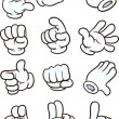 Cartoon gloved hand in different poses. Vector cli...