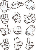 Cartoon gloved hand in different poses Vector clip art illustration Each in a separate layer