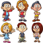 Cartoon kids Vector clip art illustration with simple gradients Each in a separate layer