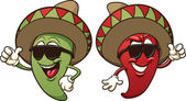 Two cool chili peppers Vector clip art illustration with simple gradients Each on a separate layer