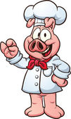 Pig chef Vector clip art illustration with simple gradients All in a single layer