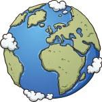 Cartoon earth. Vector clip art illustration with s...