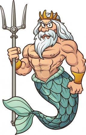 Cartoon Poseidon. Vector clip art illustration wit...