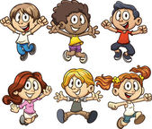 Excited cartoon kids jumping