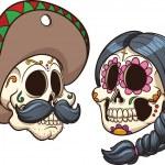 Cartoon mexican skulls. Vector clip art illustrati...