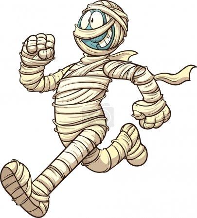 Cartoon running mummy. Vector clip art illustratio...