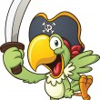 Cartoon pirate parrot. Vector clip art illustratio...