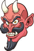 Smiling devil head Vector clip art illustration with simple gradients All in a single layer